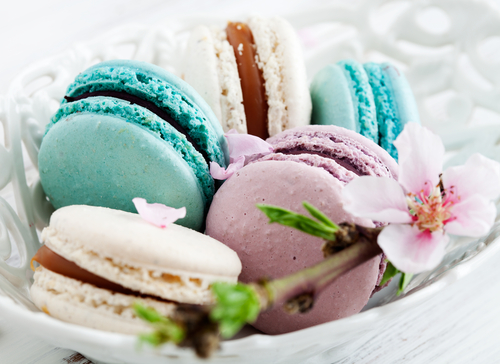 French macaroons can be prepared in many colors and flavors