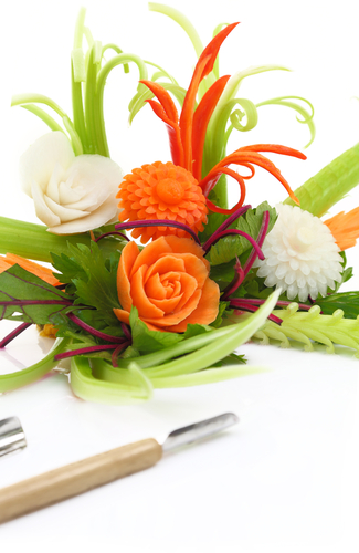 Fruit and vegetable carvings can be impressive in the right atmosphere, but may not be worth the labor ours in some venues.