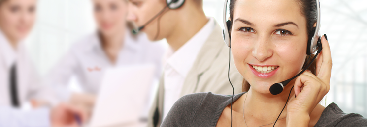 Customer service rep wearing headset