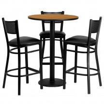 "Flash Furniture MD-0016-GG 30"" round natural laminate table set with grid back metal bar stools black vinyl"