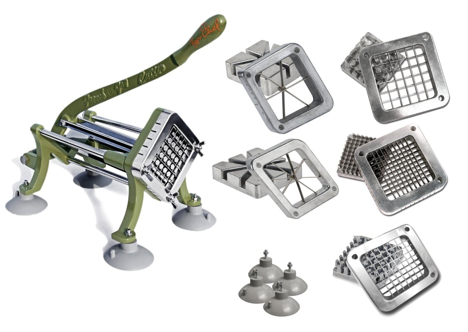 TigerChef Commercial Grade Heavy Duty French Fry Cutter Set