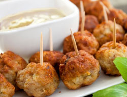 Beer Battered Beer Meatballs with Mustard Sauce
